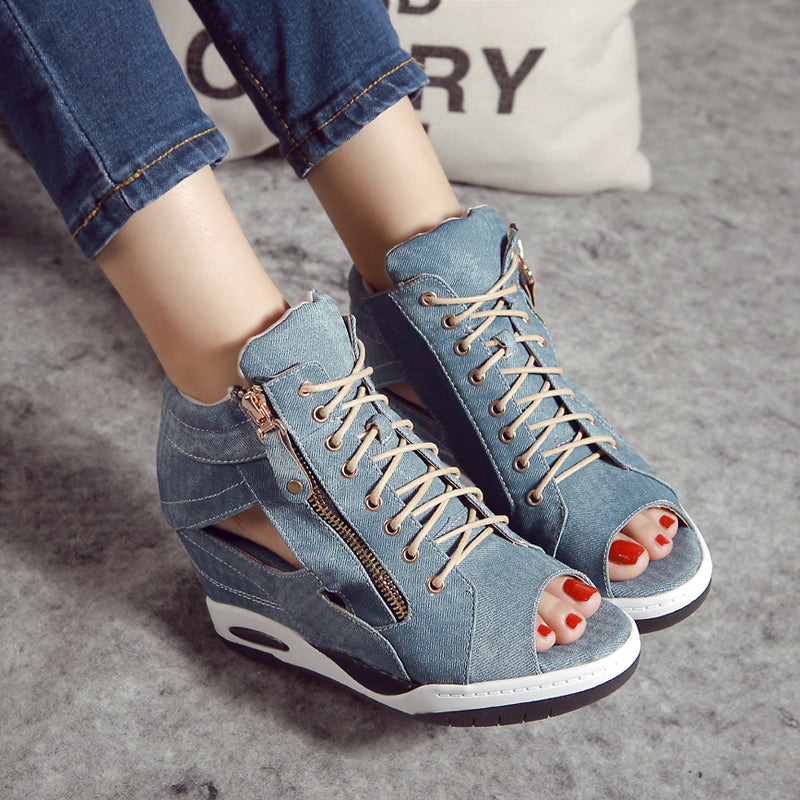 OBBVY-Women's Denim Fish Mouth Wedge Shoes