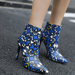 OBBVY-Pointed Color Matching Leather Stiletto Booties