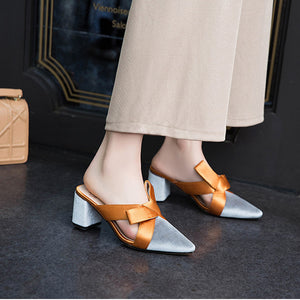OBBVY-Pointed Color Matching Bow Mules Shoes