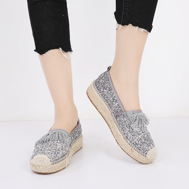 OBVVY-Women's Sequined Platform Canvas Shoes