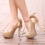 OBBVY-Rear bow high heel shoes