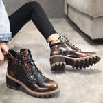 OBBVY-Retro Low/Mid Heel Martin Boots Charming Booties