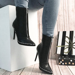 OBBVY-Rivet Zipper High Heels