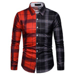Color Block Plaid Pattern Men Shirt