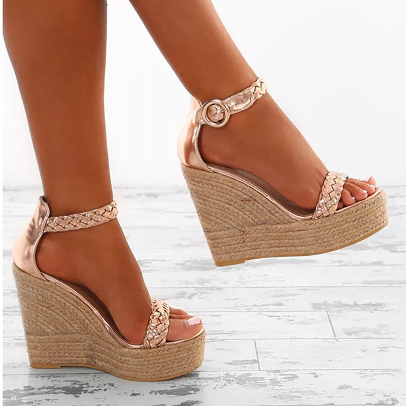 OBBVY-Buckle Wedge Sandals