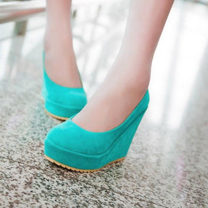 OBBVY-Solid Color Wedge Shoes