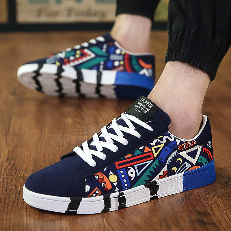 OBBVY-Men's Canvas Shoes Fashion Totem Shoes Graffiti Sneaker New Ultra Size EU39-48