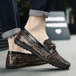 OBBVY-Men's Loafers Crocodile Pattern Men's Shoes Large Size EUR39-47 Handsome Gentleman