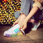 Enjoy Your Outdoors-Rainbow Couple Shoes Invisible Heightening Sneakers