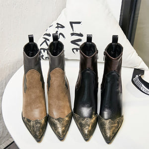 OBBVY-Color Matching Pointed Side Zipper Booties