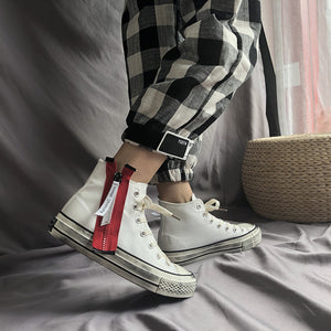 OBBVY-Retro Style High Canvas Shoes Trendy Side Zipper