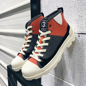 OBBVY-High-top Canvas Shoes British Fashion Men's Shoes Breathable High Boots Canvas Martin Boots
