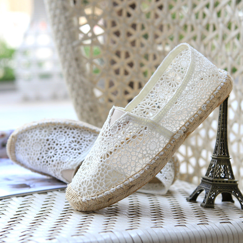 OBBVY-Lace Hook Flower Hollow Breathable Shoes