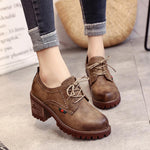 OBBVY-Woman Fashion Retro Style Martin Boots Mid Heel