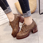OBBVY-High/Mid Heel Round Head  Martin Boots Retro Style Booties