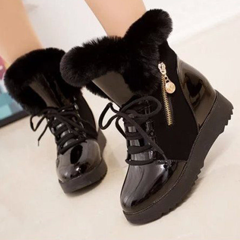 OBBVY-Wedge Snow Boots Plush Cotton Shoes Thick-soled Warm Booties