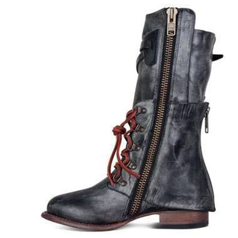 OBBVY-Vintage Lace-up Zippered Boots