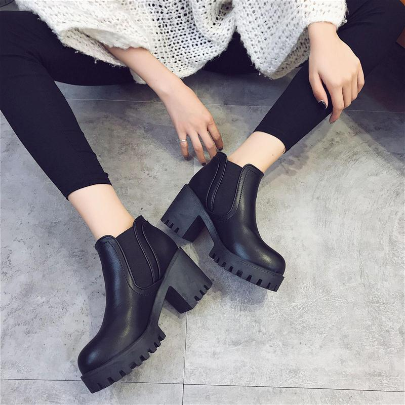 OBBVY-Solid Color High Heels Martin Boots