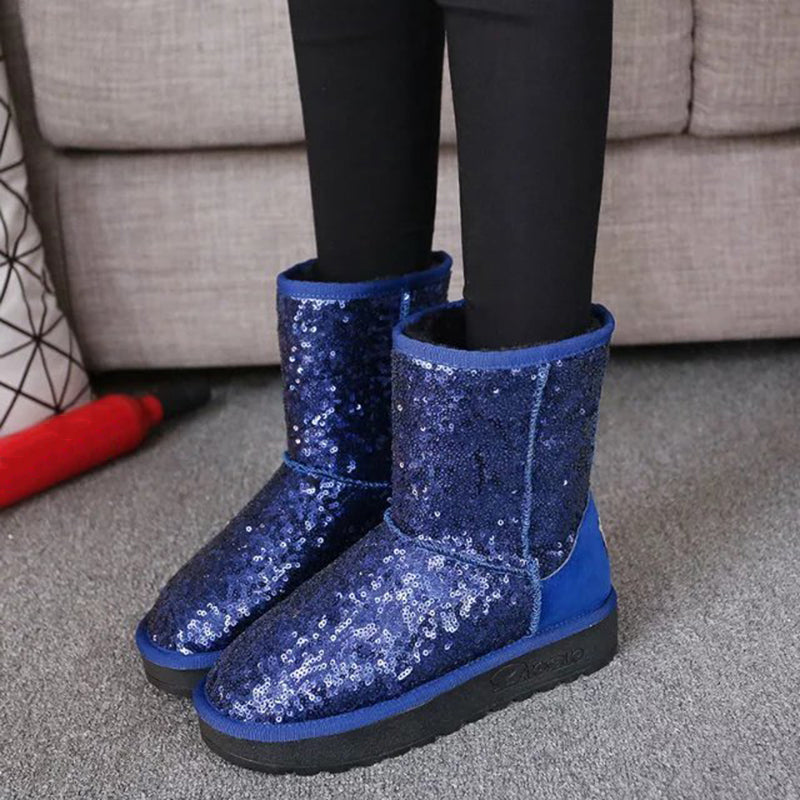 OBBVY-Sequin Warm Snow Boots