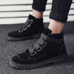 OBBVY-Velcro High-top Shoes Plush Cotton Casual Shoes