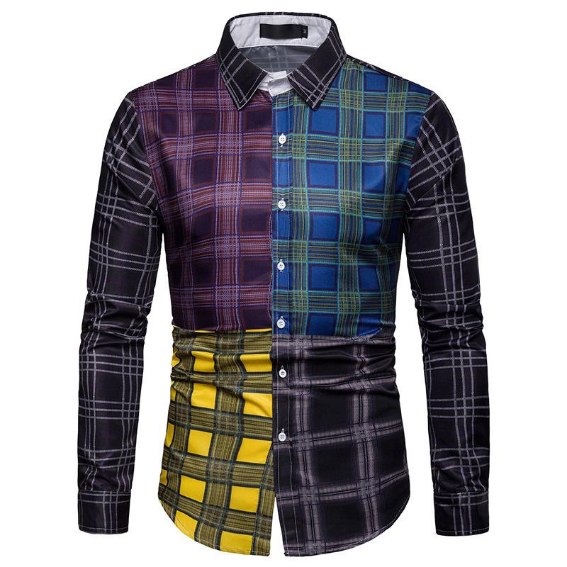 Color Block Plaid Long Sleeve Shirt