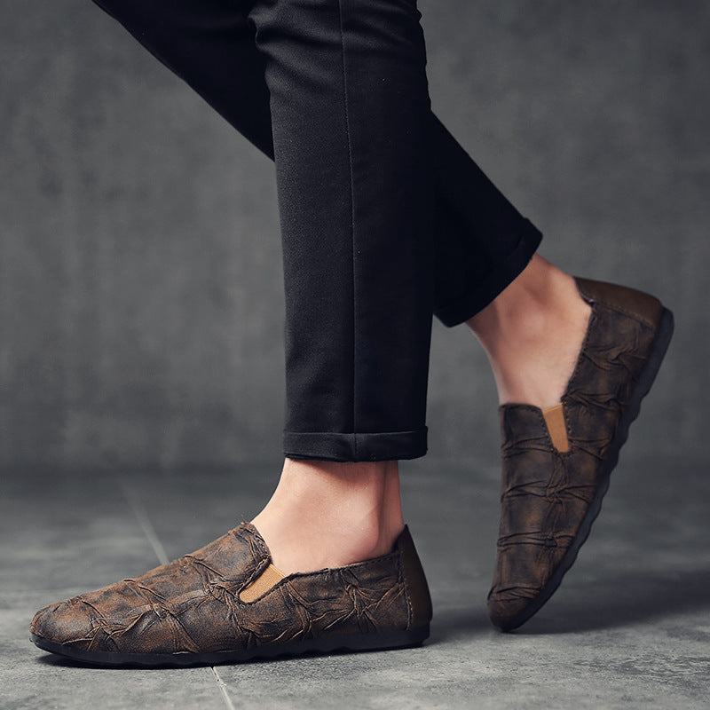 OBBVY-Retro Style Men's Loafers Leaf Pattern Shoes Handsome