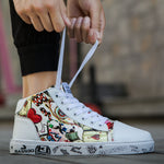 OBBVY-Graffiti Couple Shoes Doodle High-top Shoes Sports Shoes Ultra Size EU36-