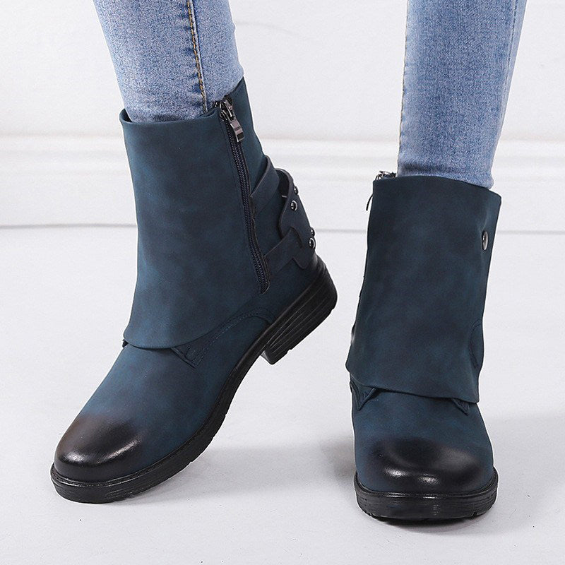 OBBVY-Rubbing Thick Heel Martin Boots