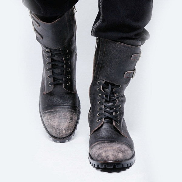 OBBVY-Retro Buckled Knight Boots Size EU38-48