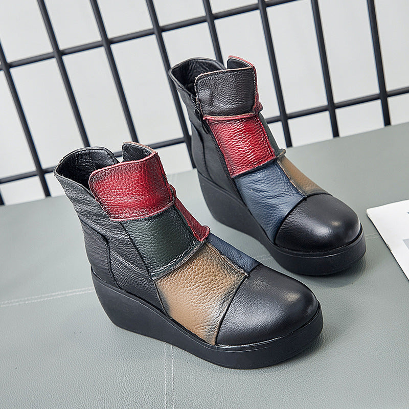 OBBVY-Leather Warm Wedge Shoes