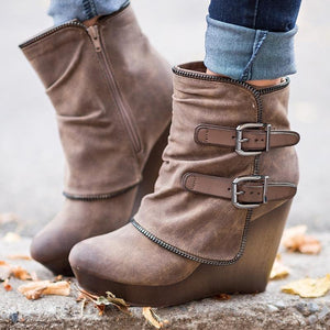 OBBVY-Fashion Wedge Booties