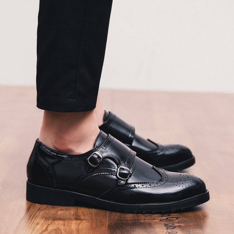 OBBVY-Belt Buckle Leather Shoes Loafers