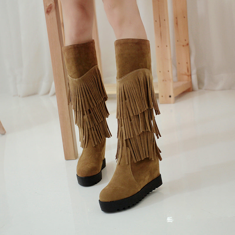 OBBVY-Fashion Round Head Tassel Wedge Boots