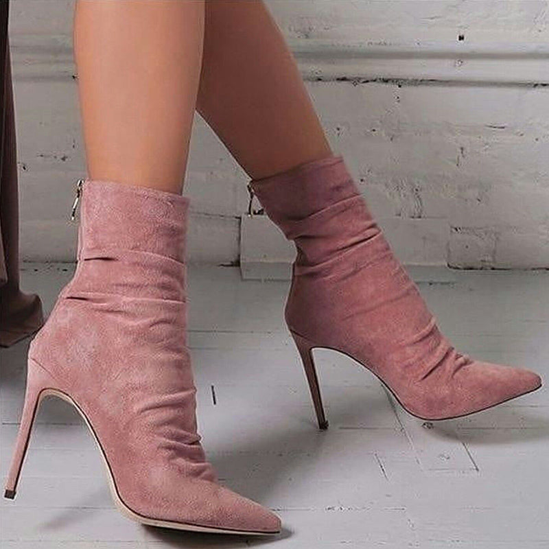 OBBVY-Fashion Pointed Suede High Heel Booties