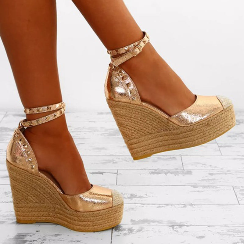 OBBVY-Buckle Rivet Wedge Sandals