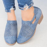OBBVY-Cutout Breathable Low Heel Shoes