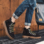 OBBVY-High-grade Stylish Lace Booties Street Style High-top Shoes Cool Handsome