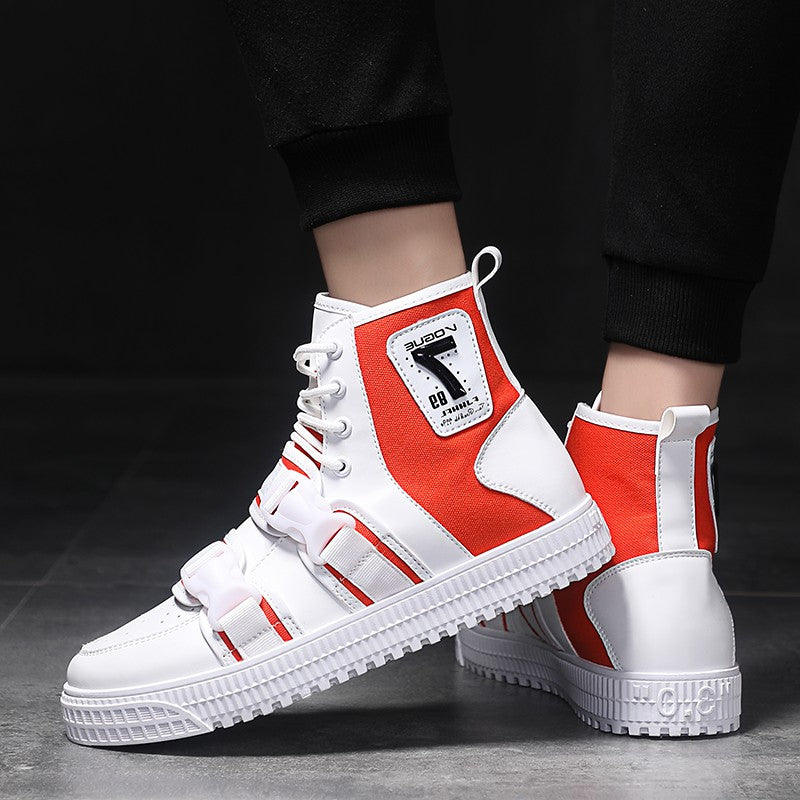 OBBVY-Winter High-top Men's Shoes Buckle Design Street Fashion