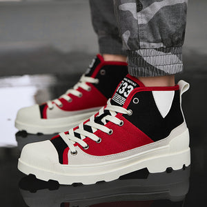 77c51b79 OBBVY-High-top Canvas Shoes British Fashion Men's Shoes Breathable High  Boots Canvas Martin