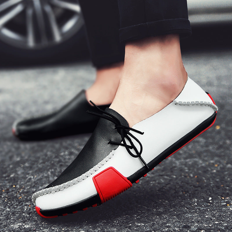 OBBVY-Handmade Color Matching Loafers Soft Comfortable Leather Shoes Ultra Size EU39-47/US6.5-12
