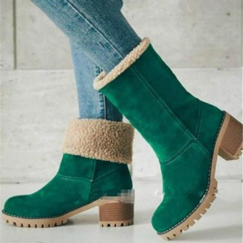 OBBVY-Cashmere Booties Thick Cotton Boots High-top Shoes