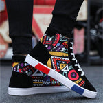 OBBVY-Men's High-top Canvas Shoes Fashion Totem Shoes Graffiti Sneaker