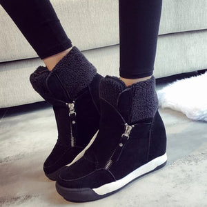 OBBVY-Women's Wedges Casual High-top Shoes Side Zipper Warm Cotton Shoes Thick Bottom Velvet Booties