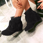 OBBVY-Lace Booties Lace Martin Boots Wedge Shoes Height-increased
