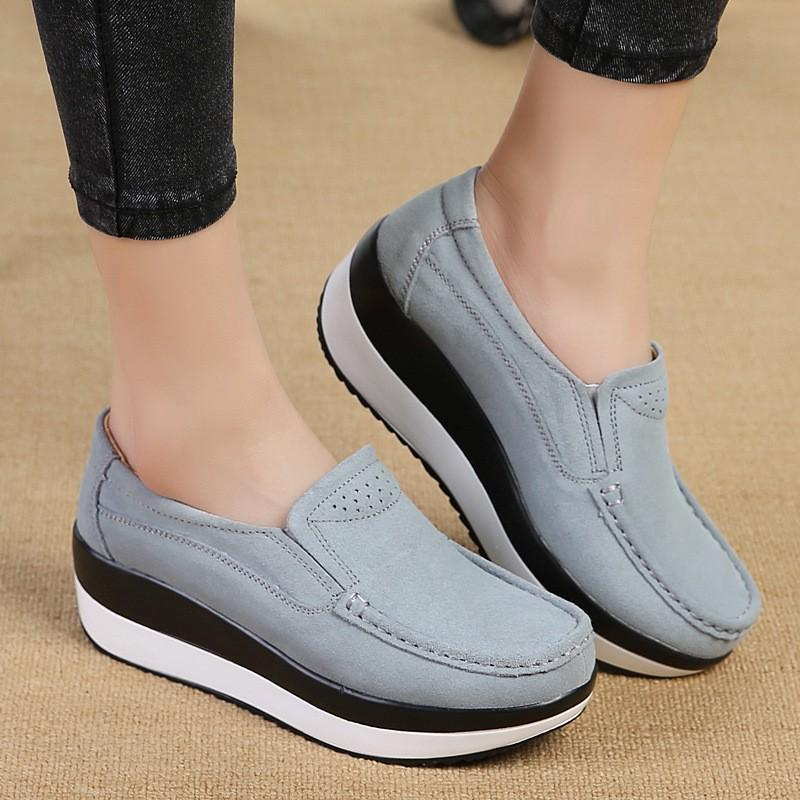 OBBVY-Rocking Shoes Leather Wedge Heel Casual Shoes