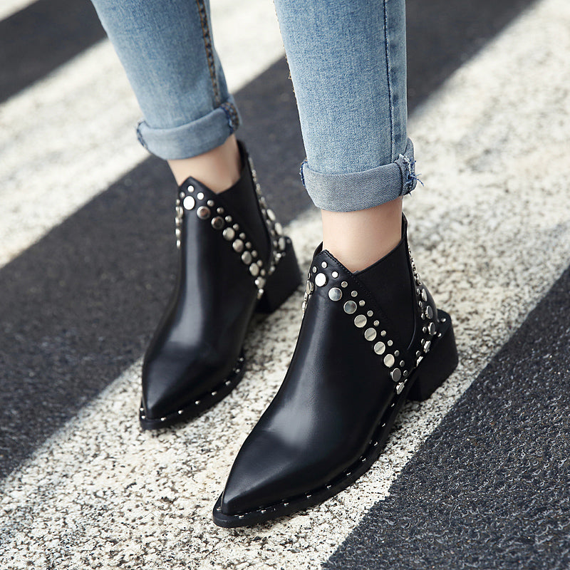 OBBVY-Rivet Martin Boots Pointed Fashion Women's Shoes