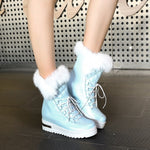 OBBVY-Fluffy Snow Boots Wedges Booties Lace-up Warm Cotton Shoes