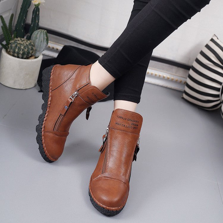 OBBVY-British Style Booties Martin Boots Wedge Women's Shoes Solid Color Letter Shoes