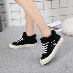 OBBVY-New Women's Loafers Casual Lace-up Shoes Plus Velvet Shoes