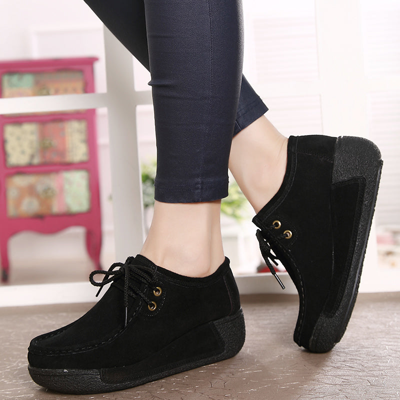 OBBVY-Lace-up Casual Shoes Muffin Platform Wedges Women's Shoes